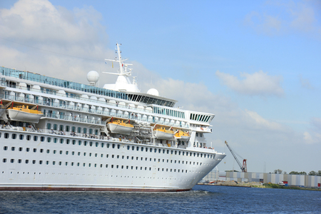 west of germany: Velsen, The Netherlands - May 27, 2015: Balmoral. The Balmoral is a cruise ship owned and operated by Fred. Olsen Cruise Lines. She was built in 1988 by the Meyer Werft shipyard in Papenburg, West Germany and is 187.71 m (615 ft 10 in) long.