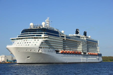 cruiseship: Velsen, The Netherlands - May 16, 2015: Celebrity Silhouette is a Solstice-class cruise ship, owned and operated by Celebrity Cruises, built by Meyer Werft, Papenburg. The Silhouette is 315 m (1,033 ft) long.
