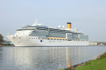cruiseship: Velsen, The Netherlands - May 10 2015: Costa Luminosa. Costa Luminosa is a cruise ship, owned and operated by Costa Crociere, built by Fincantieri Marghera shipyard in 2009. Its 292 m (958 ft) long.