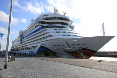 cruiseship: IJmuiden, The Netherlands - May 27, 2015: AIDAsol, AIDAsol is a Sphinx class cruise ship, built at Meyer Werft in 2011 for AIDA Cruises. She is 252 m (826.77 ft) long.