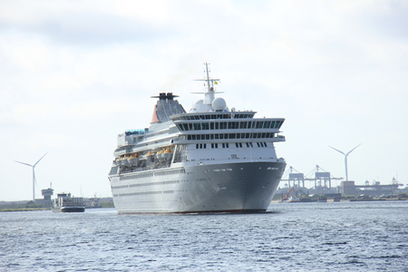 west germany: Velsen, The Netherlands - May 27, 2015: Balmoral. The Balmoral is a cruise ship owned and operated by Fred. Olsen Cruise Lines. She was built in 1988 by the Meyer Werft shipyard in Papenburg, West Germany and is 187.71 m (615 ft 10 in) long.