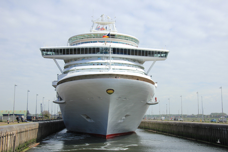 Velsen, The Netherlands - May 22, 2015: Ventura is a Grand-class cruise ship, owned and operated by P&O Cruises, built by Fincantieri, Monfalcone, Italy. It is 291.4 m (956 ft) long Editorial