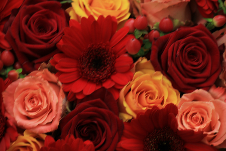 red pink: Mixed rose wedding arrangment in red, pink, orange and yellow