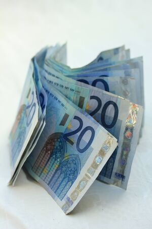 20 euro: stacked 20 euro  on white background