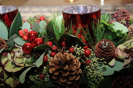 centerpiece: Christmas centerpiece in red and green