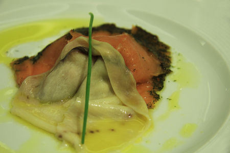 lax: Slice of sword fish with gravat lax smoked salmon with herbs and olive oil