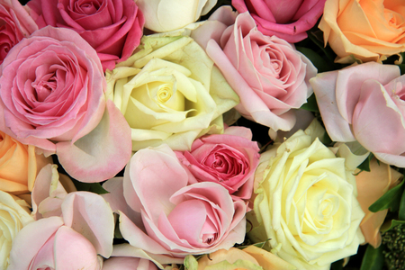 pastel shades: Pastel wedding bouquet in various shades of pink and white Stock Photo