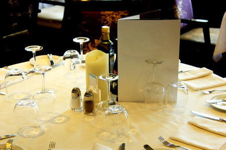luxurious: Luxurious restaurant interior with set tables Stock Photo