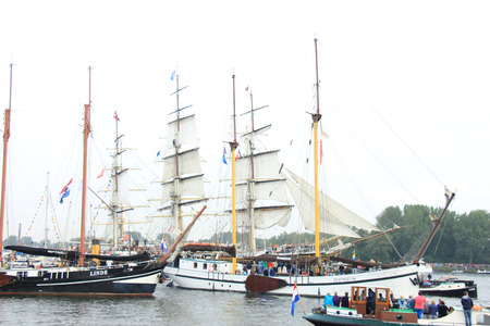 19 years: Velsen, The Netherlands - August 19 2015: Sail Amsterdam 2015 The Sail-in parade, opening ceremony of the Sail Amsterdam event, which is held every five years.
