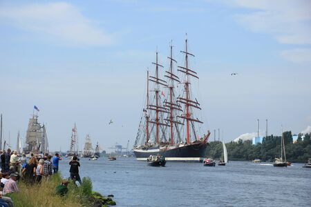 five year: Velsen, The Netherlands - August 19 2015: Sail Amsterdam 2015 The Sail-in parade, opening ceremony of the Sail Amsterdam event, every five year since 1975. Editorial