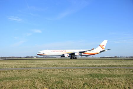 airbus: March, 22nd 2015, Amsterdam Schiphol Airport PZ-TCP Surinam Airways Airbus A340-300 take off from Polderbaan Runway
