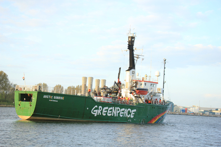 Velsen, The Netherlands - May 9, 2015: Arctic Sunrise on North Sea Canal. Arctic Sunrise is a vessel operated by Greenpeace. It has been involved in various campaigns including anti-whaling campaigns.