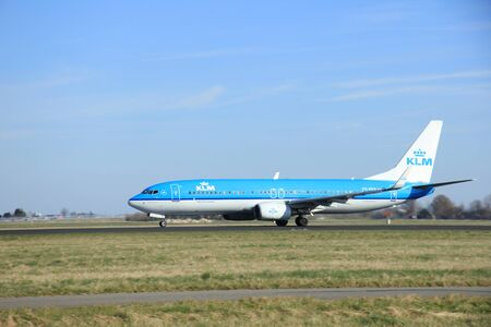 polderbaan: March, 22nd 2015, Amsterdam Schiphol Airport PH-BXH KLM Royal Dutch Airlines Boeing 737-800  take off from Polderbaan Runway