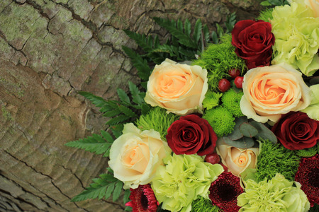wedding flowers: Floral wedding decorations in pink and green Stock Photo