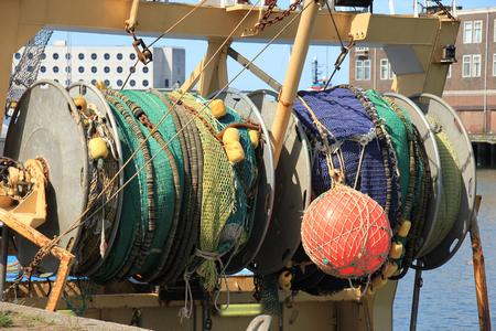 fishing nets: Fishing nets on a mid size trawler Stock Photo