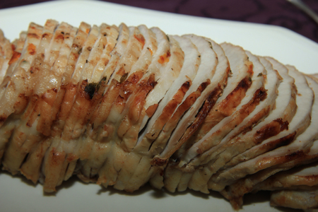cold cut: Rouladen, cold cut pork, flavored with herbs and spices Stock Photo