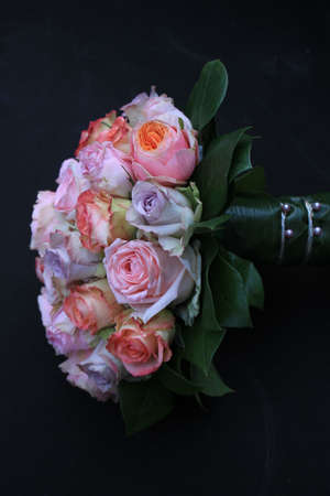 bridal bouquet: Pastel roses in a bridal bouquet Stock Photo