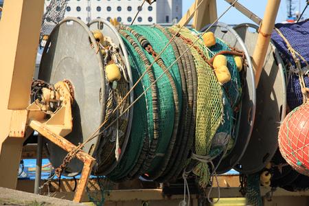 trawler: Fishing nets on a mid size trawler Stock Photo