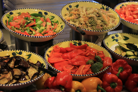 self service: Salad bar in a self service restaurant