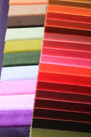swatches: Velvet swatches in an interior decoration shop