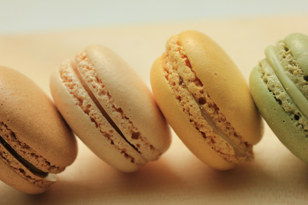 flavors: Close up of macarons in various colors and flavors