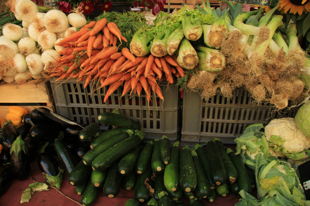 sorts: Various sorts of vegetables at a French market Stock Photo