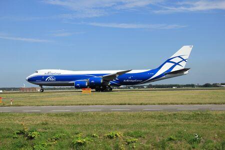 polderbaan: Amsterdam, The Netherlands - August 7 2015: VQ-BGZ AirBridgeCargo Boeing 747-8F takes off from Polderbaan Runway. Editorial