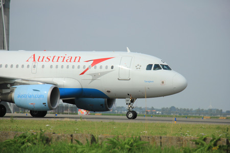 Amsterdam, The Netherlands - August 10 2015: OE-LDF Austrian Airlines Airbus A319-100  taxing on the Polderbaan runway to the main terminal of Amsterdam Schiphol Airport Editorial