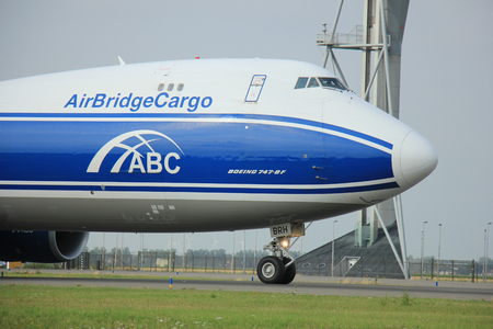 polderbaan: Amsterdam, The Netherlands - August 10 2015: VQ-BRH AirBridgeCargo Boeing 747-4KZF taxing on the Polderbaan runway to the main terminal of Amsterdam Schiphol Airport