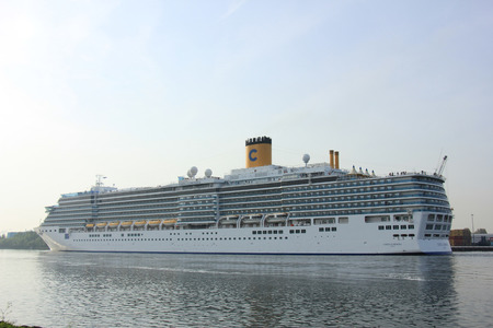cruiseship: Velsen, The Netherlands - May 10 2015: Costa Luminosa: Costa Luminosa. Costa Luminosa is a cruise ship, owned and operated by Costa Crociere, built by Fincantieri Marghera shipyard in 2009. Its 292 m (958 ft) long. Editorial