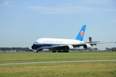 polderbaan: Amsterdam, The Netherlands - August 7 2015: B-6137 China Southern Airlines Airbus A380-841 takes off from Polderbaan Runway.