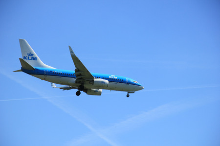 polderbaan: Amsterdam the Netherlands - May, 5th 2016:  PH-BGM KLM Royal Dutch Airlines Boeing 737  approaching Schiphol Polderbaan runway, arriving from Manchester, United Kingdom