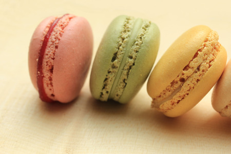 flavors: Pastel colored macarons in various colors and flavors