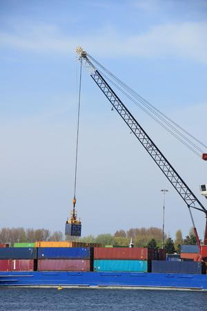 intermodal: Intermodal containers on a ship, various colors