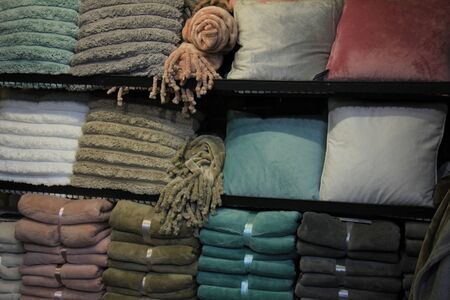fleece: Fleece blankets and trow pilllows in a retail display Stock Photo