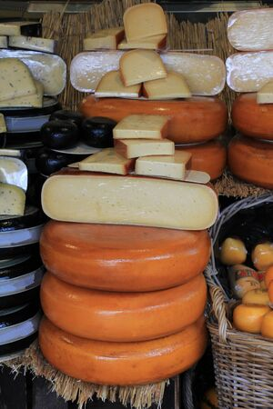 dutch: Different sorts of Dutch cheese on display in a store Stock Photo
