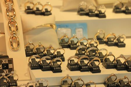 diamond rings: Diamond engagement rings in a shop display