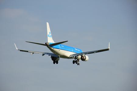 klm: Amsterdam the Netherlands - May, 6th 2016: PH-EZM KLM Cityhopper Embraer ERJ-190STD  approaching Schiphol Zwanenburg runway , arriving from Frankfurt, Germany