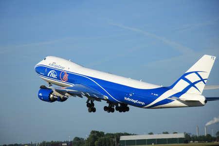 polderbaan: Amsterdam, the Netherlands - June 9th 2016:  VQ-BFE AirBridgeCargo Boeing 747-83QF , take off from Polderbaan runway Schiphol, destination Milan, Italy