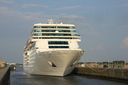 ijmuiden: IJmuiden, the Netherlands, June 4th, 2016:  Costa Neo Romantica in IJmuiden lock, between canal and North Sea Editorial