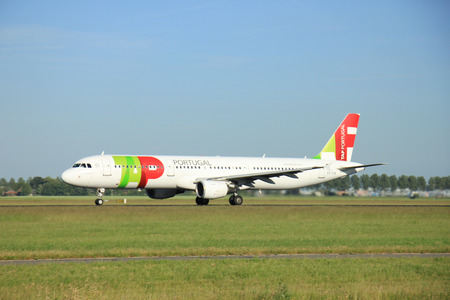 to and fro: Amsterdam the Netherlands - June 9th, 2016: CS-TJG TAP - Air Portugal Airbus A321 takeoff fro Polderbaan runway, destination Lisbon, Portugal Editorial