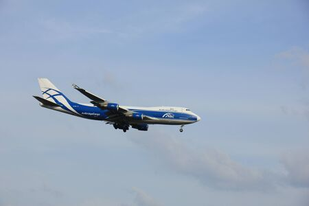 boeing 747: Amsterdam, the Netherlands -  April 1st 2016:  VP-BIM AirBridgeCargo Boeing 747 approaching Polderbaan runway, arriving from Moskow, Russia