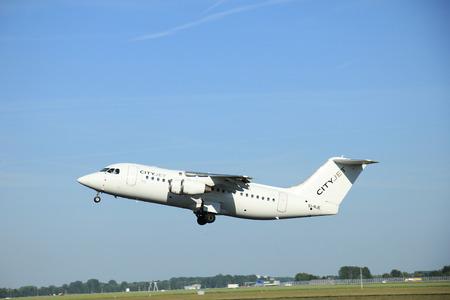 aerospace: Amsterdam, the Netherlands - June 9th 2016: EI-RJE Cityjet British Aerospace Avro RJ85 , takeoff from Polderbaan runway Schiphol, destination London, United Kingdom Editorial