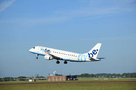 takeoff: Amsterdam, the Netherlands - June 9th 2016:  G-FBJE Flybe Embraer ERJ-175STD, takeoff from Polderbaan runway Schiphol, destination Birmingham, United Kingdom