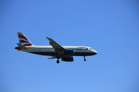 airways: Amsterdam the Netherlands - May, 5th 2016:  G-DBCI British Airways Airbus A319 approaching Polderbaan runway, arriving from London, United Kingdom