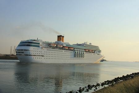 ijmuiden: IJmuiden, the Netherlands, June 4th, 2016:  Costa Neo Romantica on North Sea Canal towards North Sea Editorial