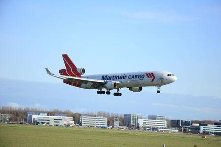 douglas: Amsterdam, The Netherlands, april 11, 2015: PH-MCY Martinair Holland McDonnell Douglas MD-11F  approaching runway 09-27 Buitenveldert Editorial