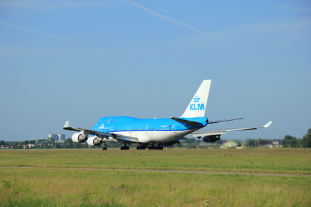 boeing 747: Amsterdam, the Netherlands - June 9th 2016: PH-BFV KLM Royal Dutch Airlines Boeing 747, take off from Polderbaan runway Schiphol, destination Beijing, China