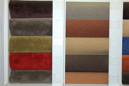swatches: Carpet swatches in an interior decoration shop