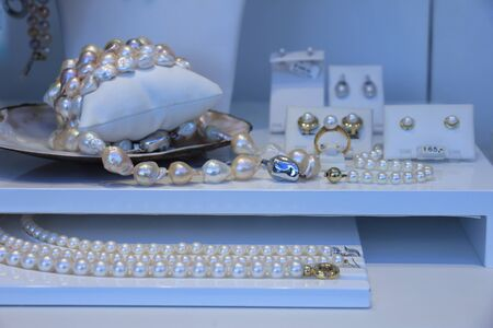 shop window: Pearl jewelry in a window shop display